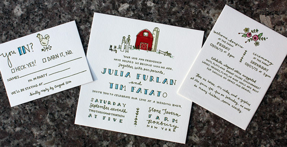 Julia and Tim: hand illustrated, watercolored, letterpressed custom invitation with farm theme including caricature of couple and their cats