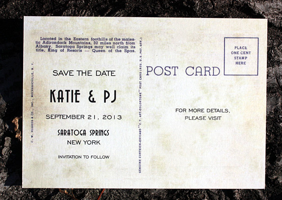 Katie and PJ: postcard save the date