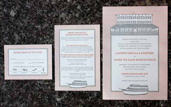 Lauren and Jared: custom illustration of boat and boathouse wedding venue, 2 color letterpress
