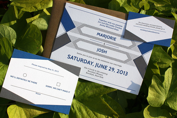 Marjorie and Josh: wedding invitation with 2 color graphic design