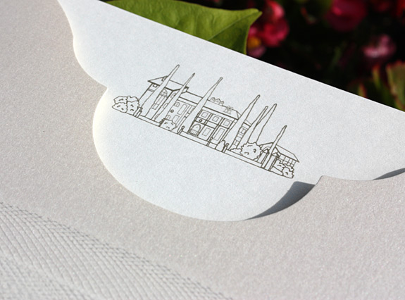 Rebecca and Jeffrey: custom chateau illustration thermographed with pocket folder and tule wrap