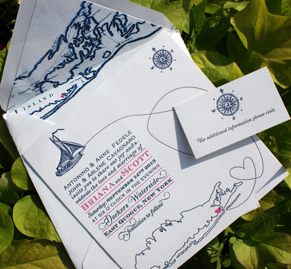 Briana and Scott: Come Fly with Me {custom}, letterpress prnted in navy and magenta, featuring Long Island map and liner printed on square card stock