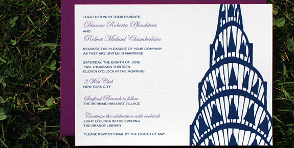 Dianne and Robert: Lexington Avenue, digitally printed in lavender and navy with beet envelope