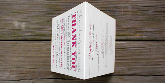 Pamela and Timothy: Liberty View {custom}, digitally printed in pewter, magenta, and black inks as custom folded thank you card and menu