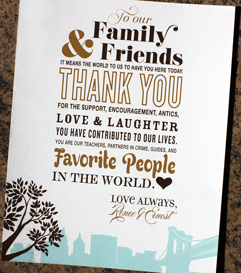 Renee and Ernest: Montague St. - Apt. B , digitally printed thank you sign in turquoise, espresso, and chocolate