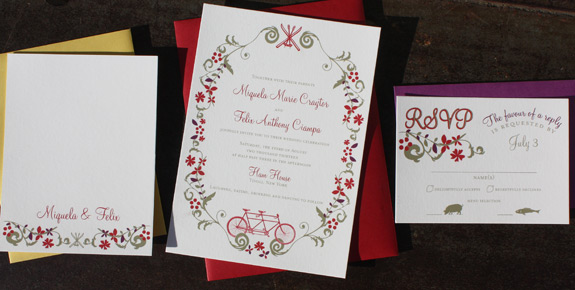 Miguela and Felix: Ramble, digitally printed in cranberry, eggplant and gold with beet, curry and red envelopes