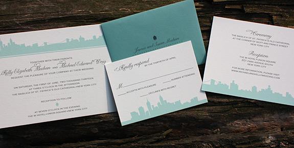 Kelly and Michael: Riverside Drive, digitally printed in charcoal and turquoise inks with pool envelope