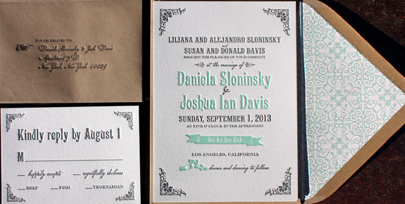 Daniela and Joshua: Washington Square, letterpress printed in turquoise and charcoal, featuring ornamental envelope liner