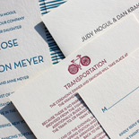 Ilona and Daniel: whimsical wedding invitation with rustic stripes and bicycle motif