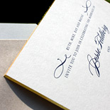 Jesse and Stu: engraved wedding invitation suite engraved in blue ink with gold gilt edge