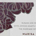 Marissa and John: wedding invitation with art deco flowers, foil stamped