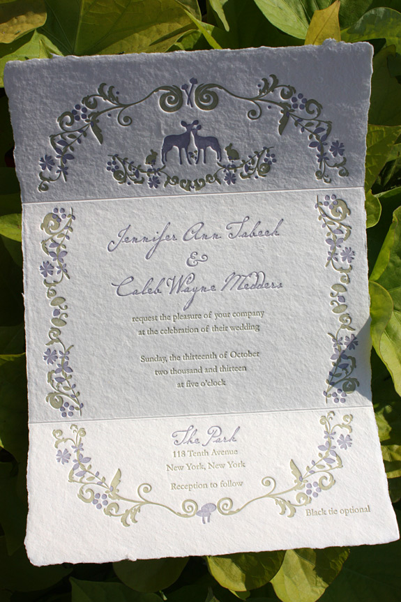 Jennifer and Caleb: The Ramble invitation suite from PostScript Brooklyn, custom printed on handmade trifold paper in two color letterpress