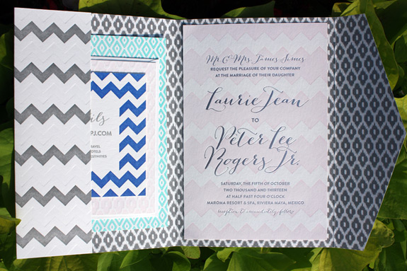 Laurie and Peter: custom design featuring patterns of chevrons and diamonds in this multicolored feast of an invitation, letterpressed and foil stamped