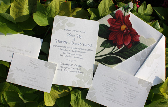 Lina and Matthew: letterpressed and foil stamped in grey and pearl with vintage floral image, pocket folder