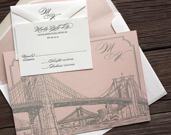 Michelle and Vladimir:  foil stamped in pink metallic foil and grey letterpress duplexed with coral shimmer backer and custom bridge illustration (Seaport from PostScript Brooklyn) and monogram