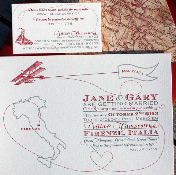 Jane and Gary: Come Fly with Me, digitally printed with charcoal and cranberry ink, featuring map liner and web card for destination wedding in Italy.
