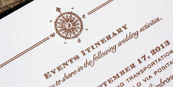 Kirby and Brent: Come Fly with Me, square letterpress printed with chocolate ink, featuring map liner for destination wedding in Italy. Including RSVP, Itinerary and Web card.