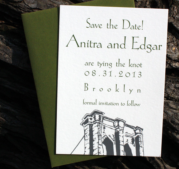 Anitra and Edgar: Front Street digitally printed in charcoal and moss inks with Brooklyn Bridge. Featuring save the date and invitation with rsvp card.