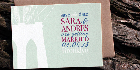 Sara and Andres: Fulton Street digitally printed turquoise, cranberry and royal blue inks. Featuring Brooklyn Bridge art and paperbag envelope.