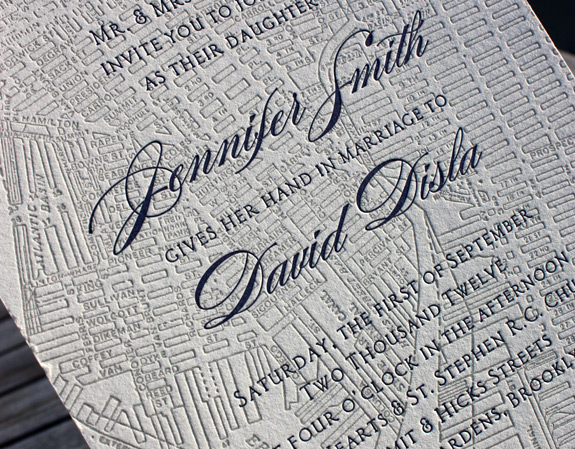 Jennifer and David: Liberty View, letterpress printed invitation with black and nickel inks, featuring Brooklyn map.