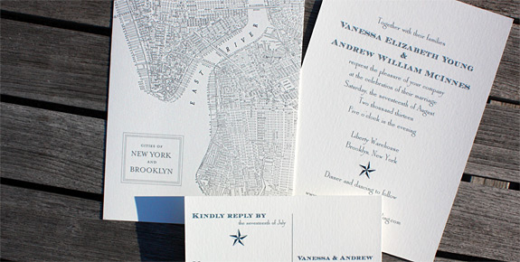 Vanessa and Andrew: Liberty View digitally printed with charcoal and navy inks. Featuring double sided invitation with Brooklyn Map and rsvp postcard.