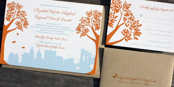 Elizabeth and Raymond: Montague Street Apt. B, digitally printed in pumpkin and light blue inks, featuring matching rsvp card with addressed envelopes.