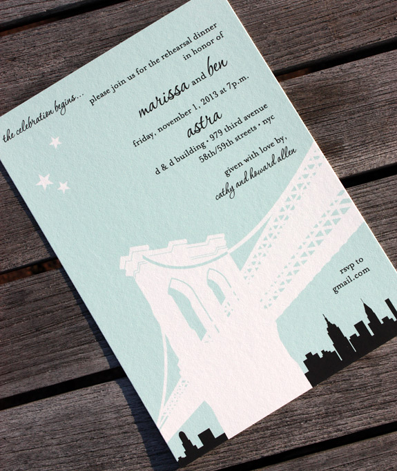 Marissa and Ben: Pineapple Street, digitally printed invitation with turquoise and black inks, featuring the Brooklyn Bridge.