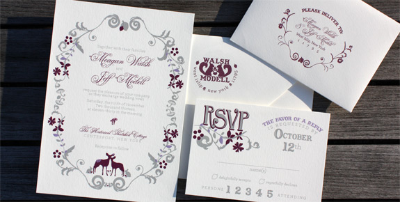 Meagan and Jeff: The Ramble, digitally printed with pewter and eggplant inks, featuring RSVP card with matching addressed envelopes.