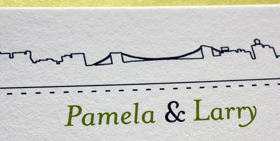 Pamela and Larry: Riverside Drive, digitally printed with willow and navy inks, featuring RSVP card and thank you card with addressed envelopes.
