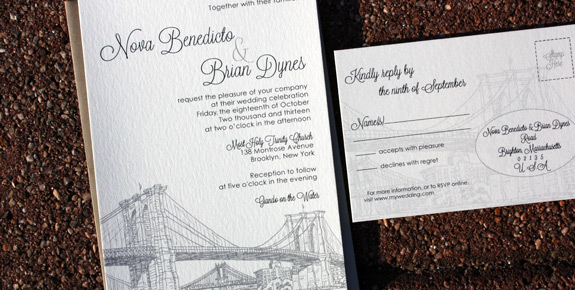 Nova and Brian: Seaport digitally printed in with charcoal, nickel, and pewter. Featuring Brooklyn Bridge art with rsvp postcard.