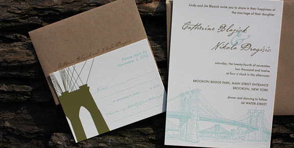 Catherine and Nikola: Seaport and Fulton, digitally printed in turquoise and gold inks, featuring matching RSVP card and addressed envelopes.