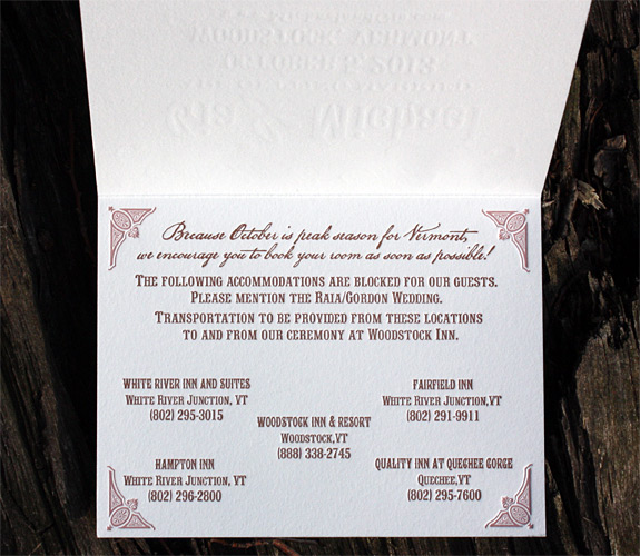 Gia and Michael: Washington Square folded Save the Date, letterpress printed with rosé and copper inks.