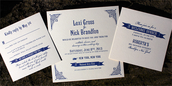 Lexi and Nick: Washington Square digitally printed in navy ink. Featuring rsvp card and reception card.