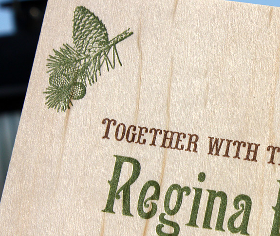 Regina and Andrew: Washington Square {custom}, letterpress printed on wood with moss backer using moss and chocolate inks. Featuring RSVP postcard.