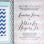 Laurie and Peter: the bold patterns wonderfully integrated into this stunning wedding invitation suite were inspired by Mexican textiles and wares found in the region and at the resort where the wedding took place. Custom design by Almeter Design.