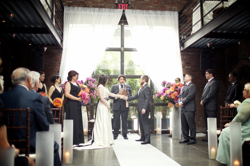 Regina and Brian exchange I do's at The Foundry in Long Island City.  Just stunning!