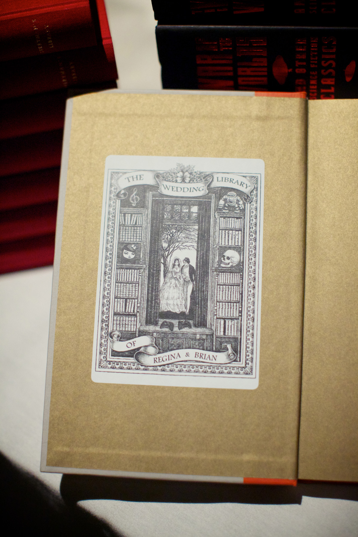 Custom bookplates we printed for the books given as favors.