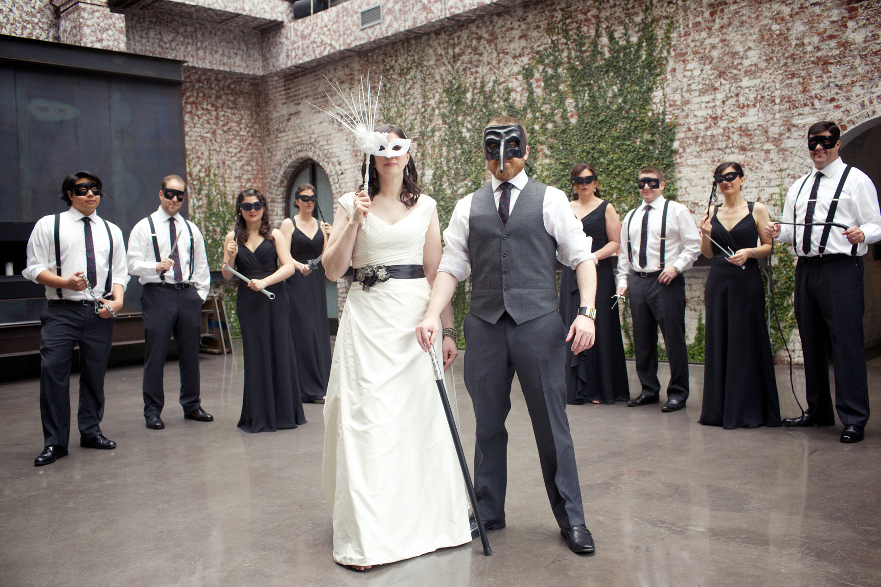 Nothing beats a masked wedding party.