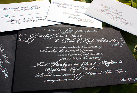 Emily and David: hand calligraphed art, foil stamped in white on black museum board