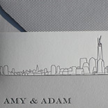 Amy and Adam: New New York skyline invitation featuring Freedom Tower, with belly band and pocket folder