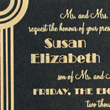 Susan and Jason: art deco / Gatsby-inspired wedding invitation with cinematic design printed in gold foil on black stock and letterpress on accompanying pieces