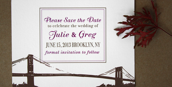 Julie and Greg: Ferris Street save the date digitally printed with eggplant and espresso inks featuring the Brooklyn Bridge.