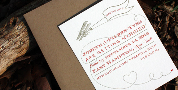 Jobeth and Pierre-Yves: Come Fly with Me, digitally printed save the date with gold and persimmon ink.