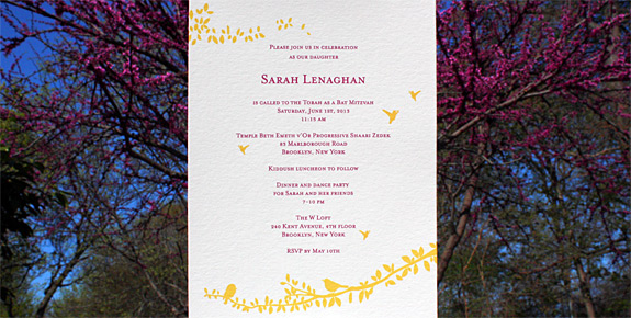Sarah: Gramercy Park Mitzvah Invitation, digitally printed with squash and magenta inks on soft white paper.