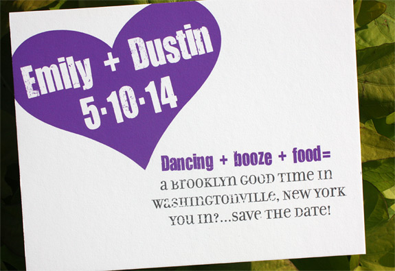 Emily and Dustin: PS 232 save the date digitally printed with custom pantone.