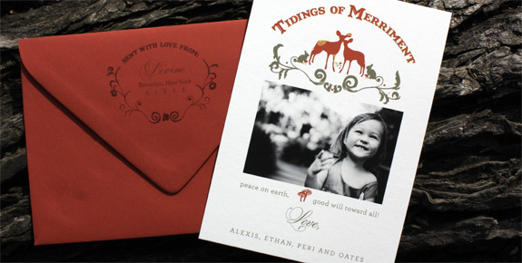 Devine Family: The Ramble Holiday Photo Card {custom} digitally printed with return addressed envelopes.
