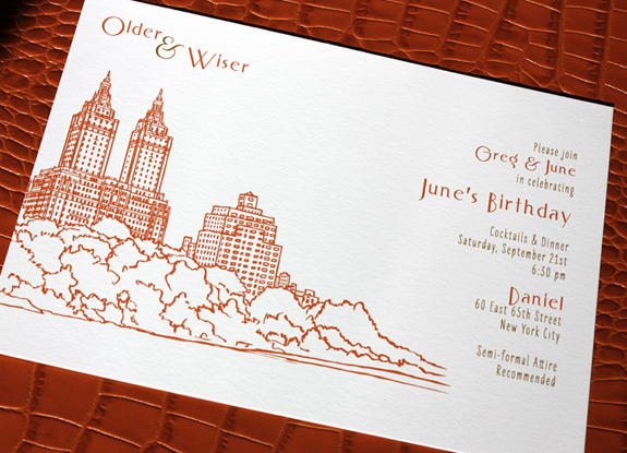June and Greg: San Remo Party Invitation Suite digitally printed with persimmon and gold inks.