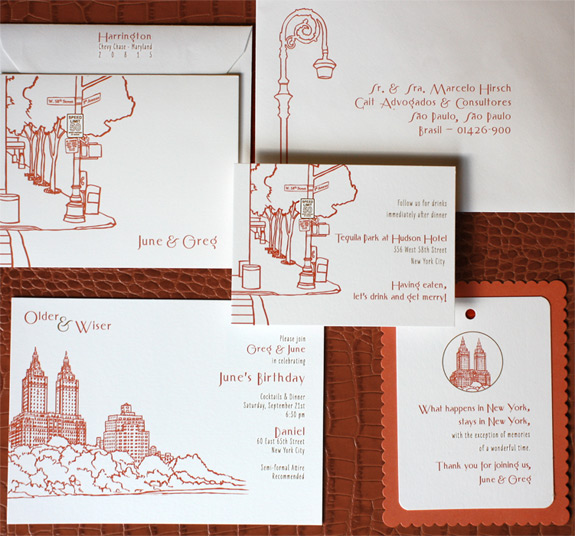 June and Greg: San Remo Party Invitation Suite digitally printed with persimmon and gold inks. Featuring Invitation, Addressed Envelopes, Reception Card, Thank You Card, and Gift Tag.
