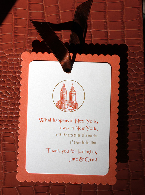 June and Greg: San Remo Gift Tag digitally printed with persimmon and gold inks.