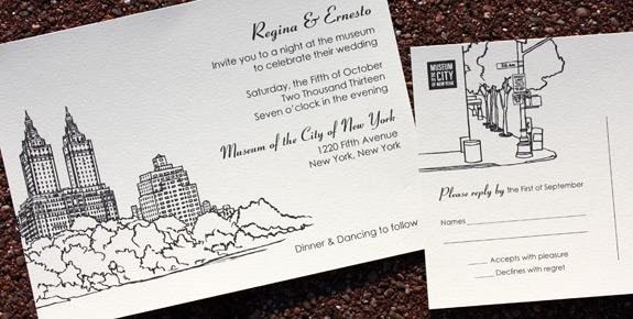 Regina and Ernesto: San Remo digitally printed invitation and rsvp postcard with black ink.